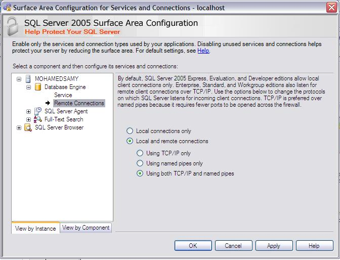 SQL 2005 remote connection configuration